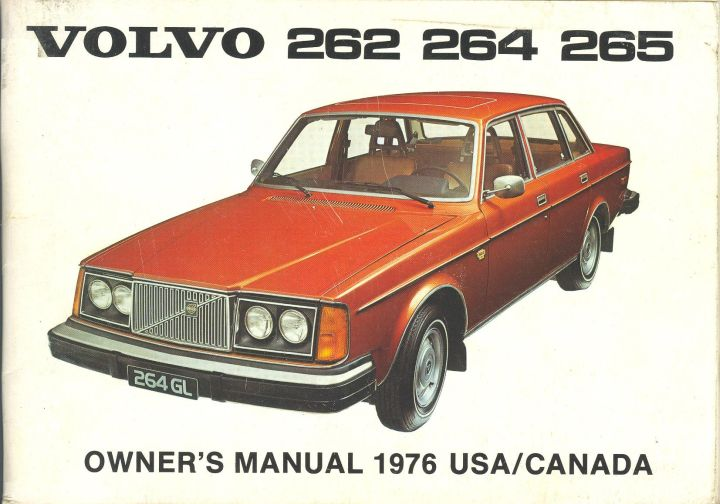 Frontside Volvo 262/264/265 Owner's Manual Year model 1976 USA/Canada