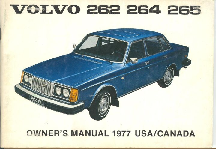 Frontside Volvo 262/264/265 Owner's Manual Year model 1977 USA/Canada