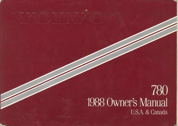 Frontside Volvo 780 Owner's Manual Year model 1988